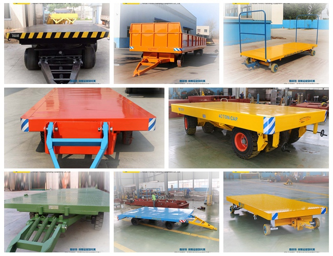 The trolley towed by tractor is towed by other machine such as tractor, locomotive and forklift, which have been widely applied in the cargo transportation in the airport, sea port, warehouse, train station. In order to keep stable and flexible during the turning in small space, we have optimized the steering mechanism, wheel press and frame rigidity to make it available for linkage of several trolleys. The trolley has been highly approved by our customers.