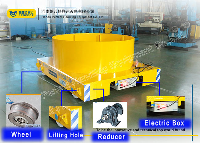 10 Ton Load Liquid Steel Ladle Transfer Car , Trailing Cable Powered Car Trailer