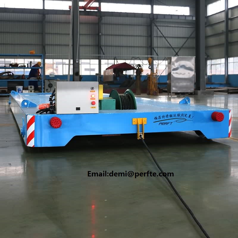 cable reel powered electric transfer vehicle on track